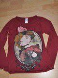 T-shirt  portrait  bordeaux zara